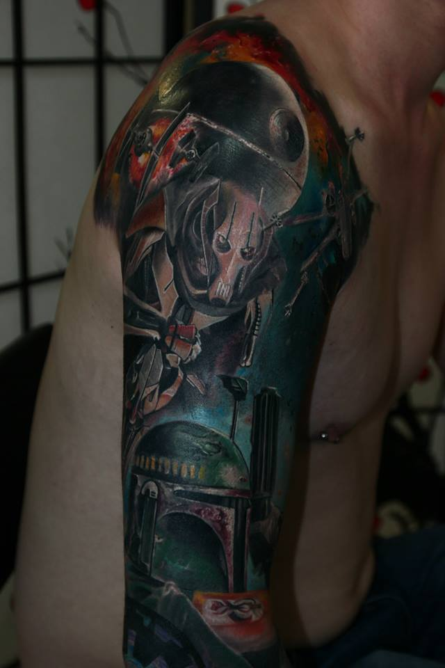 Star wars theme tattoo on shoulder