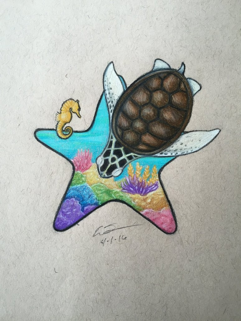 Starfish contour with colorful ocean bottom view and diving turtle tattoo design by Skull Buggery