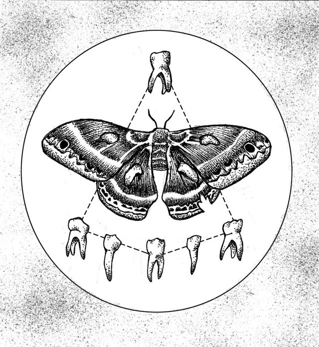 Static black-and-white moth surrounded with human teeth tattoo design