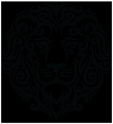 Static black tribal lion muzzle tattoo design