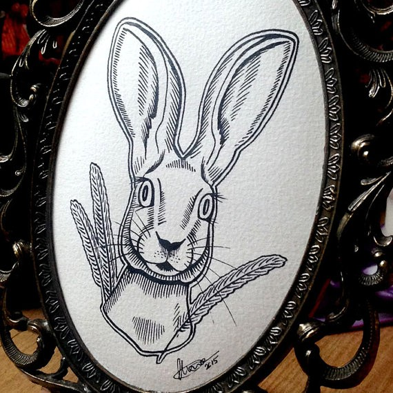 Static outline hare portrait with wheat stems tattoo design