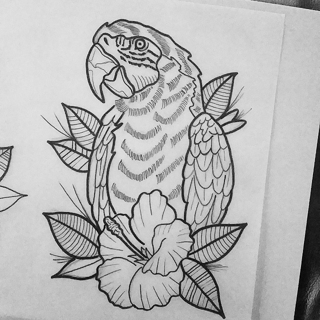 static outline parrot portrait and hibiscus flower tattoo design