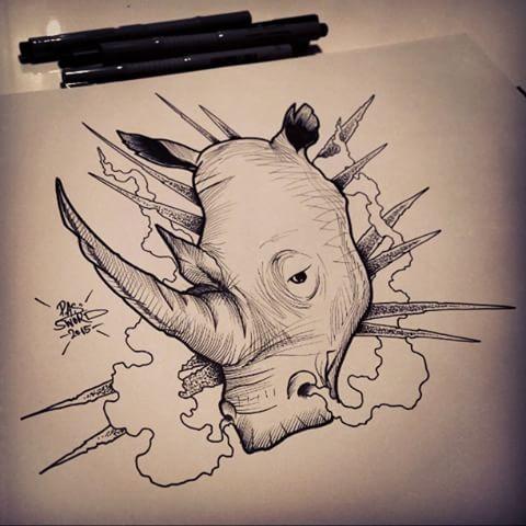 Static rhino head on cloudy background tattoo design