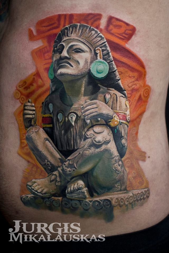 Statue of Aztec God Xochipilli tattoo