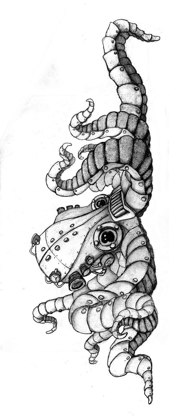 Steampunk metal octopus tattoo design