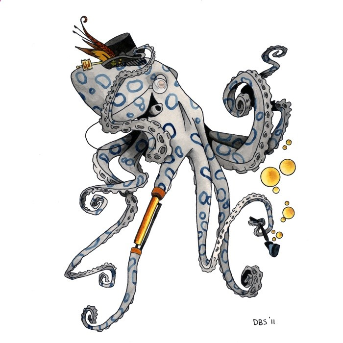 Steampunk octopus in hat smoking a tobacco pipe tattoo design