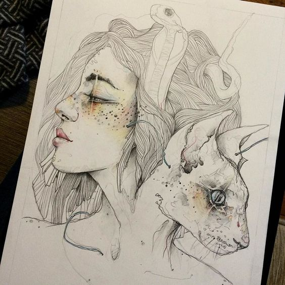 Strange creature with woman and cat heads tattoo design