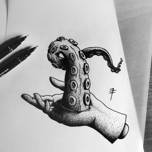 Strange dotwork human hand keeping an octopus tentacles tattoo design