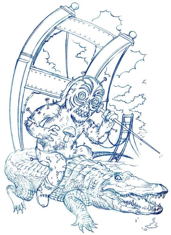 Strange fluffy man riding reptile on bridge background tattoo design