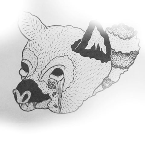 Strange grey-ink crying lemur head and tail end tattoo design