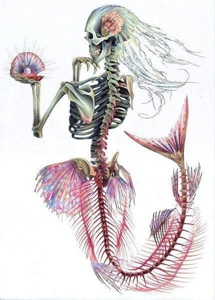 Strange pink-shine mermaid skeleton admires her pearl tattoo design