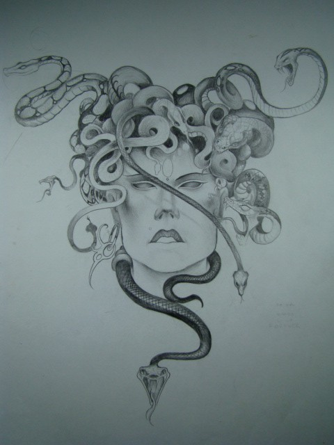 Strick grey-ink medusa gorgona with long hair snakes tattoo design