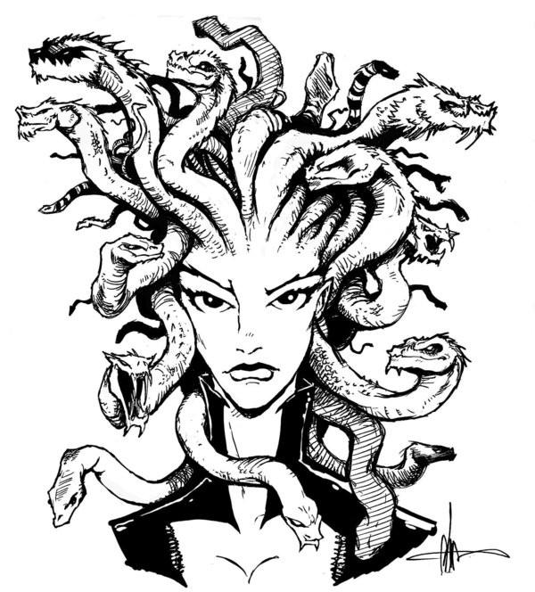 Strict black-and-white medusa gorgona portrait tattoo design by Archer Monster