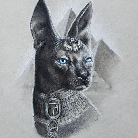 Strict black blue-eyed egyptian cat on pyramid bakground tattoo design