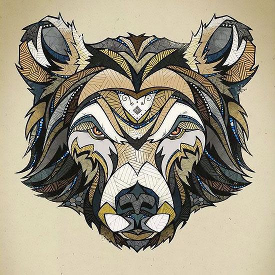 Strict colorful geometric-patterned bear head tattoo design