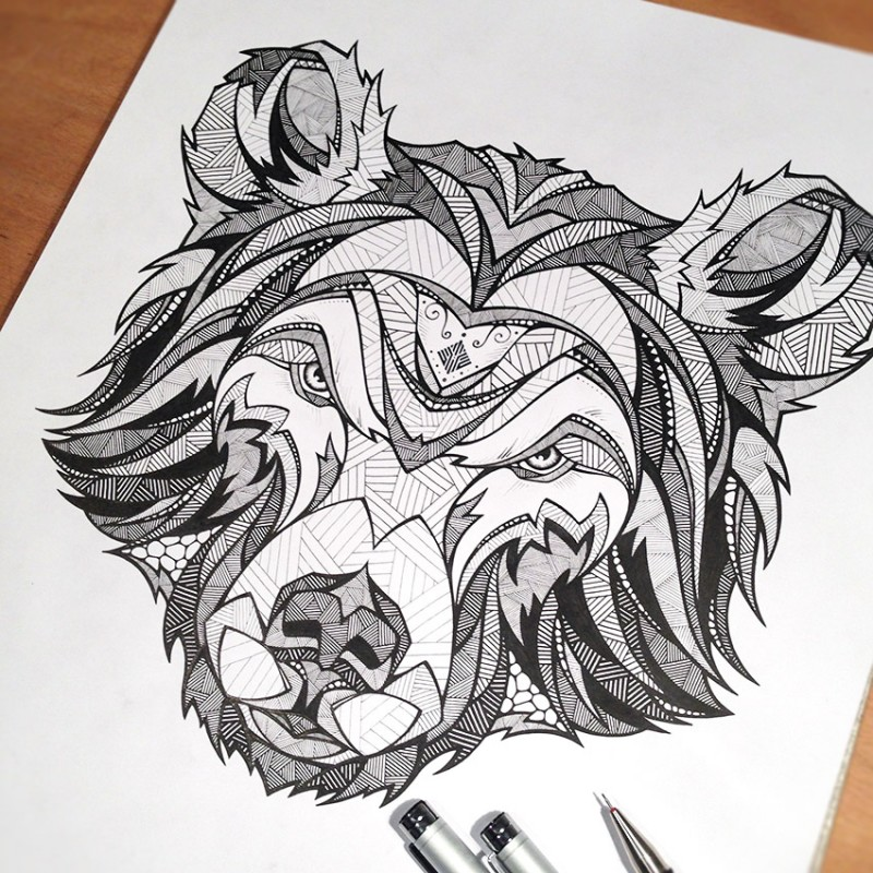Strict geometric-patterned grizzly muzzle tattoo design