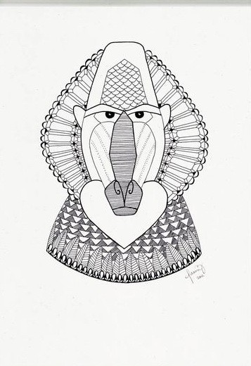 Strict grey-ink baboon portrait with ornament tattoo design