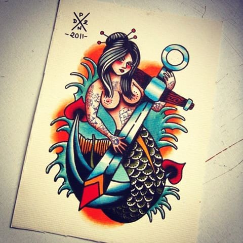 Strict old school mermaid and an anchor on orange shine background tattoo design
