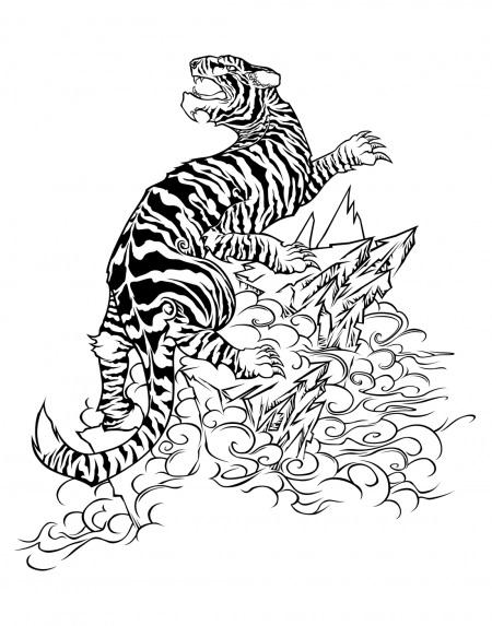Striped tiger roaring on sharp rocks tattoo design