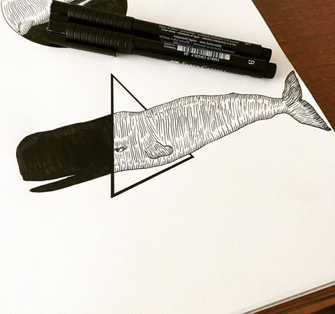 Striped whale entering into 3D triangle tattoo design