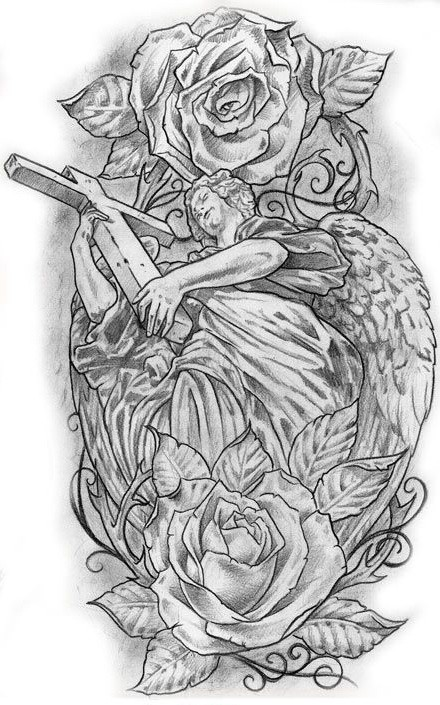Strong angel keeping a huge wooden cross among roses tattoo design
