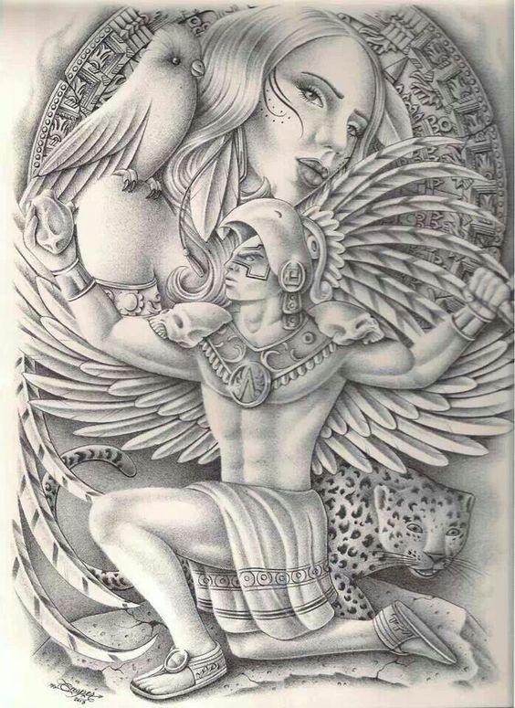 Strong angel warrior with walking leopard on girl face background tattoo design