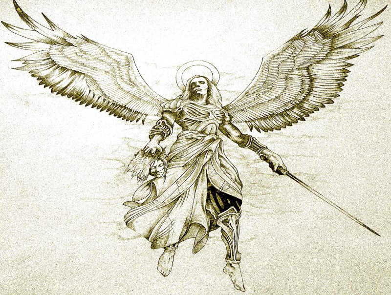 Strong angel with a long sword and a sinner head in a hand tattoo design by Minke Whale
