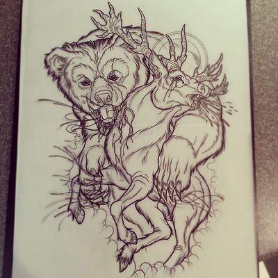 Strong bear killing frightened deer tattoo design