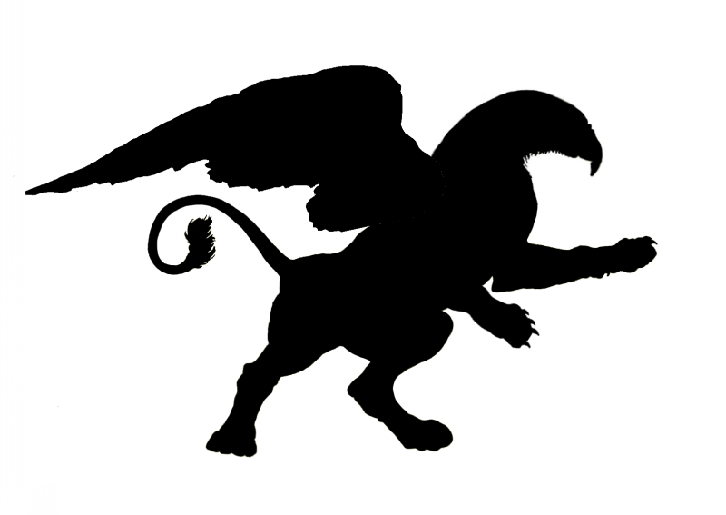 Strong black griffin silhouette tattoo design