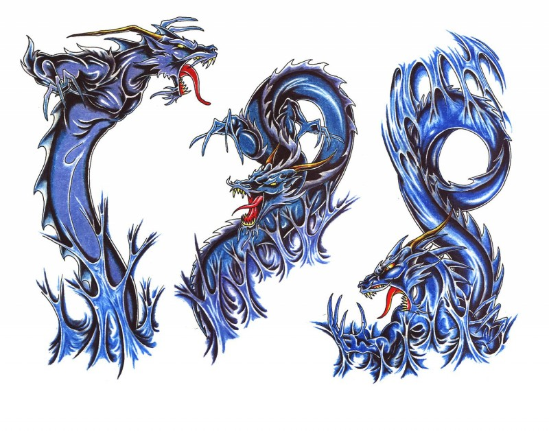 Strong blue traditional dragon tattoo designs