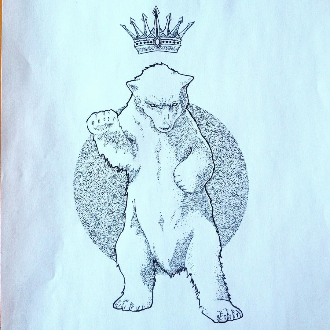 Strong brutal dotwork polar bear and crown on circle background tattoo design