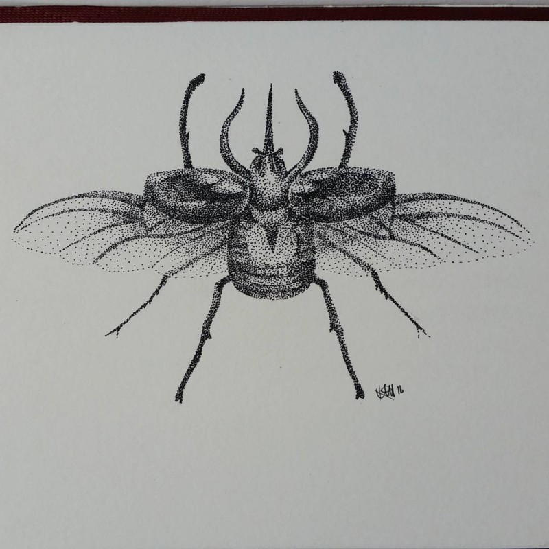 Strong dotwork-style flying bug tattoo design