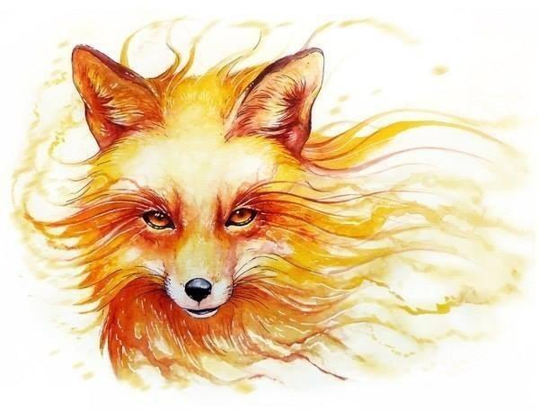 Strong flaming fox tattoo design