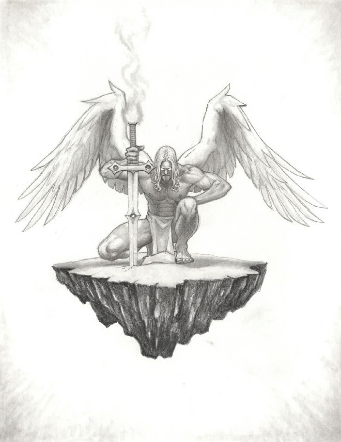 Strong grey-ink angel with a sword standing by knee on a piece of rock tattoo design by Drz73
