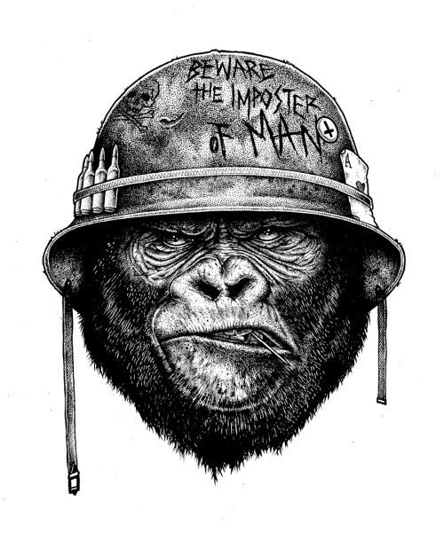 Strong grey-ink gorilla head in steel military helmet tattoo design