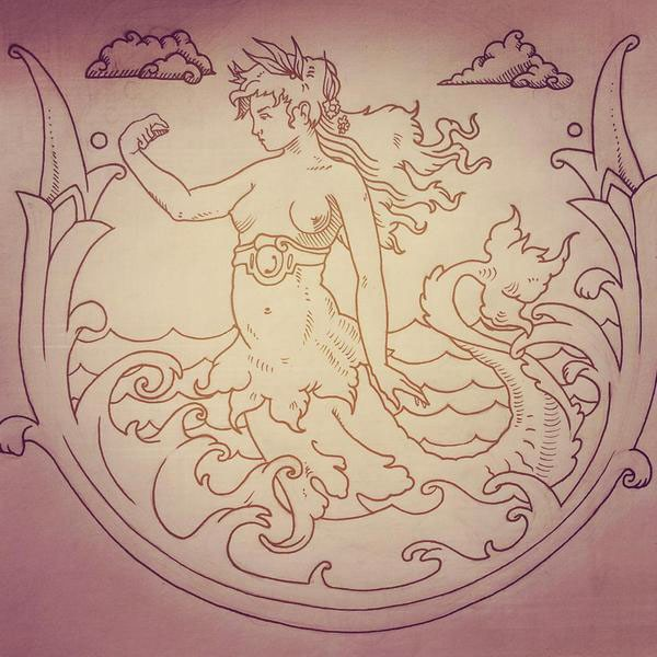 Strong mermaid in laurel wreath swimming in stormy water tattoo design