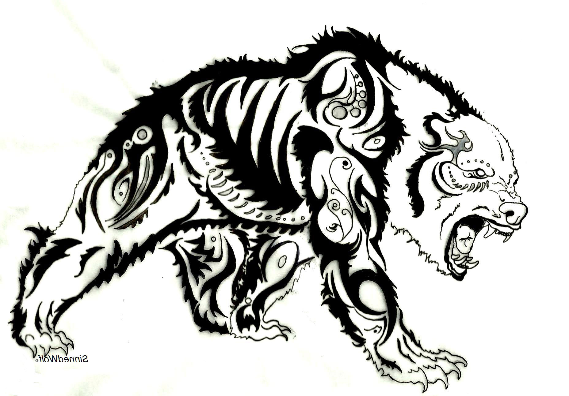 Strong muscular bear hunting on his prey tattoo design