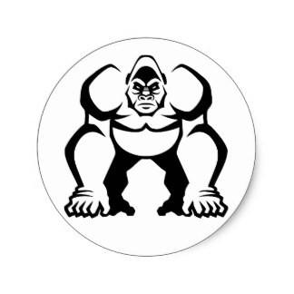 Strong outline gorilla emblem tattoo design