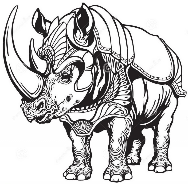 Strong outline rhino warrior wearing armour tattoo design