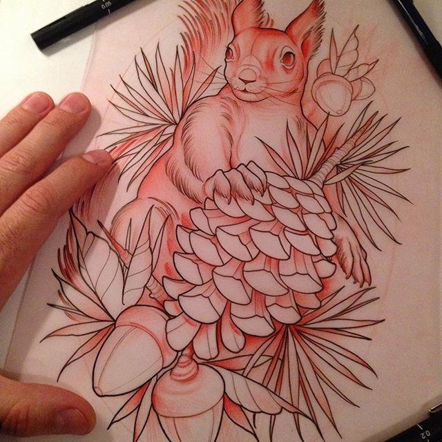 Strong red-ink squirrel with acorns and strobile tattoo design
