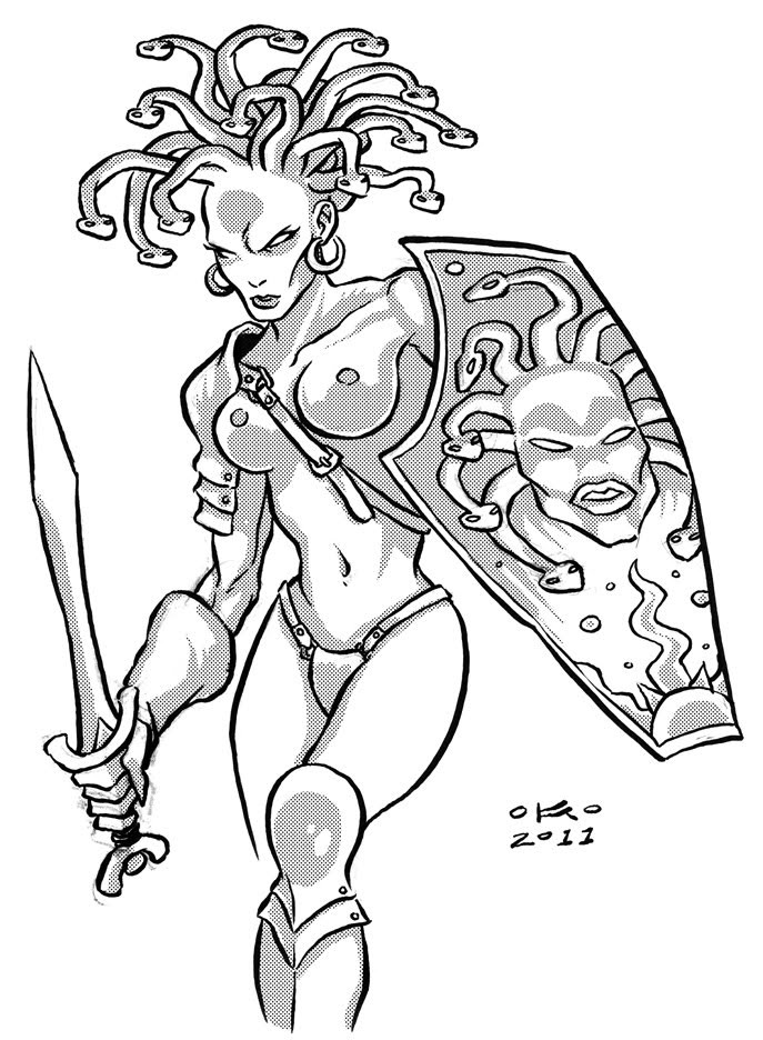 Strong severe grey-ink medusa gorgona warrior with a sword tattoo design