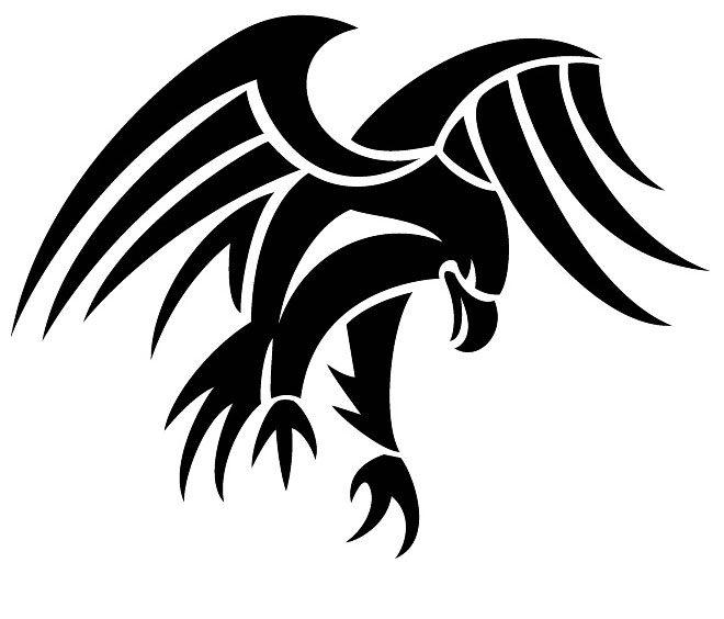 Strong tribal black flying eagle tattoo design