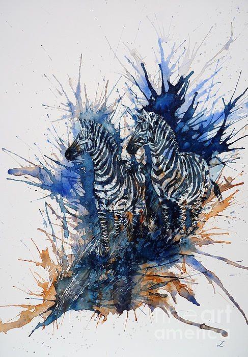 Strong waiting zebra couple on huge splashed watercolor background tattoo design