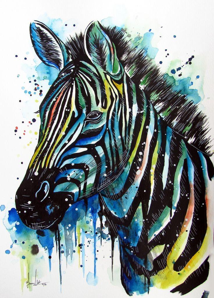 Sttic watercolor zebra head in a lot of rainbow spots tattoo design