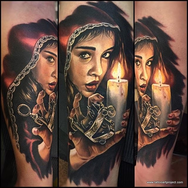 Stunning colored portrait tattoo of mystical woman with candle