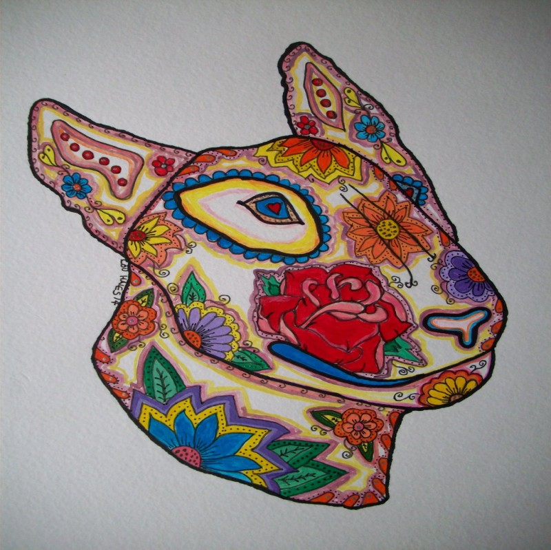 Sugar skull style english bull terrier dog tattoo design by Pookielou