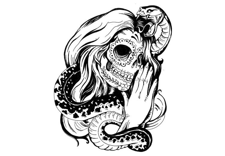 Sugur Skull Praying Girl With A Snake Tattoo Design