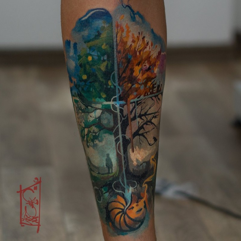 Summer and outumn watercolor tattoo on forearm
