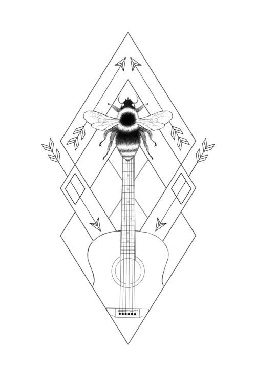 Super bee and guitar in arrow geometric background tattoo design