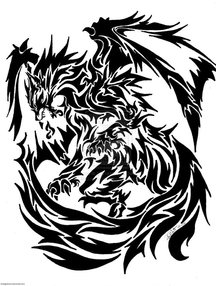 Super big black tribal griffin tattoo design